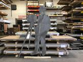 Aluminum man fully cut out by our abrasive waterjet capabilities