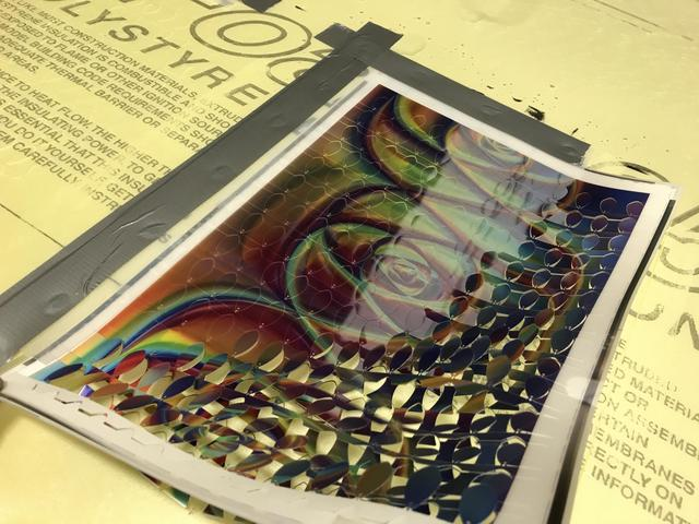 An up-close view of a holographic sheet
