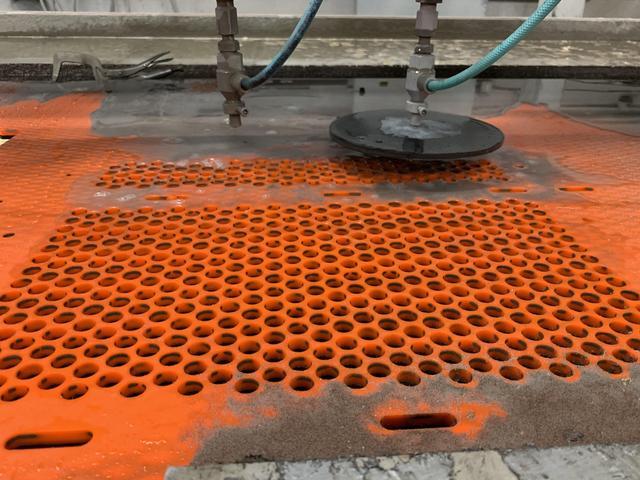 Waterjet Cutting Of Urethane & Steel Mesh