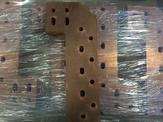 An up-close view of a waterjet copper plate